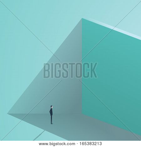 Businessman standing in front of high wall as a business challenge or business opportunity concept. Finding solution symbol. Eps10 vector illustration.