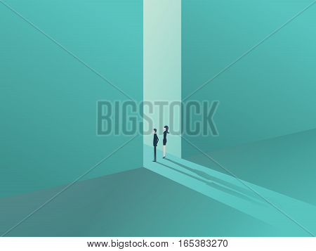 Business people standing in a gate or door as a symbol of business opportunity or career progress. Corporate metaphor for growth and success. Eps10 vector illustration.