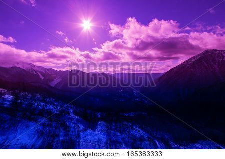 landscape of mountain covered with snow with the beautiful cloud and sky background.JAPAN