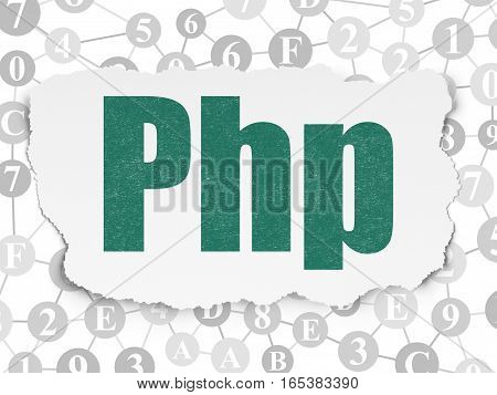 Database concept: Painted green text Php on Torn Paper background with Scheme Of Hexadecimal Code