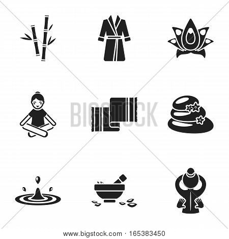 Spa set icons in black style. Big collection of spa vector symbol stock