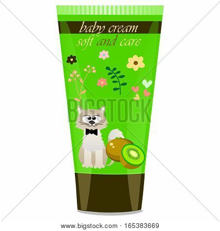 High quality original trendy vector Baby cream tube with kids design and cat, kiwi illustration