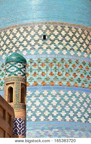 KHIVA, UZBEKISTAN: Detail of the Kalta Minor Minaret in Khiva Old town