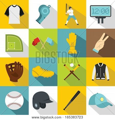 Baseball icons set. Flat illustration of 16 baseball vector icons for web