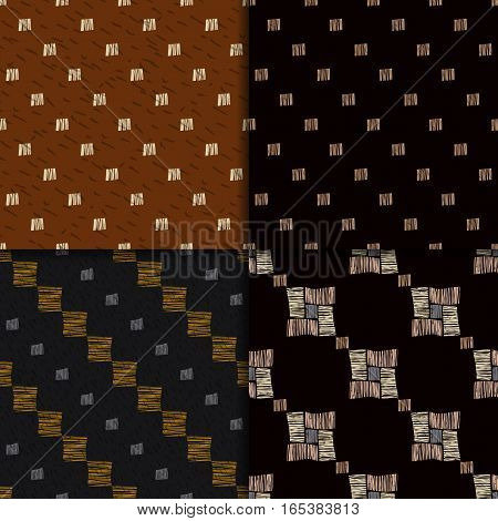 Geometric hand drawn tribal seamless pattern set. Brown checkered abstract backgrounds. Ethnic vector ornaments.