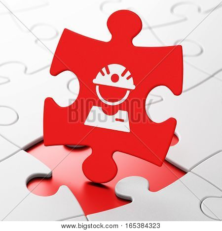 Manufacuring concept: Factory Worker on Red puzzle pieces background, 3D rendering