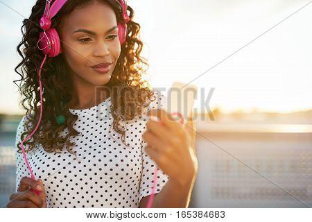 Black Lady Enjoying Her Music