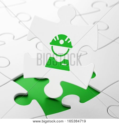 Manufacuring concept: Factory Worker on White puzzle pieces background, 3D rendering