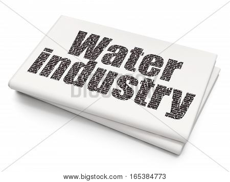 Manufacuring concept: Pixelated black text Water Industry on Blank Newspaper background, 3D rendering