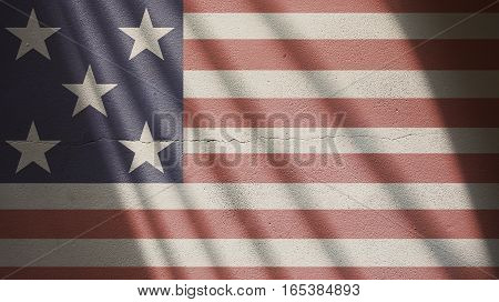 Usa Flag on a Cracked Wall with Gate Shadow