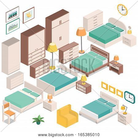 Furniture for bedroom in isometric style - bedside tables, lamps, wardrobes, armchair, chair, clock, and picture. Set house equipment. Hotel room design. Vector 3D illustration.