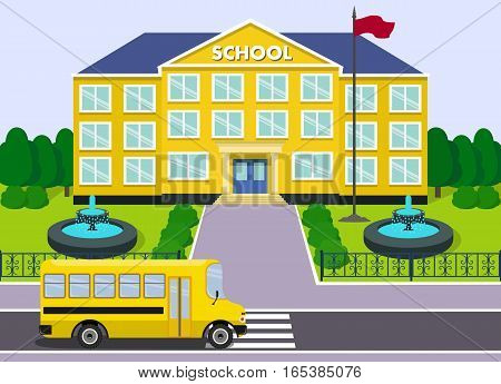 Flat schoolhouse. School building with yellow bus and fountains over landscape background. Vector illustration.