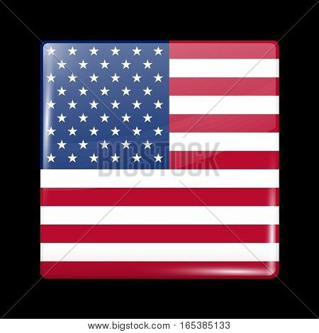 Flag Of United States Of America. American Flag. Glossy Icon Square Shape