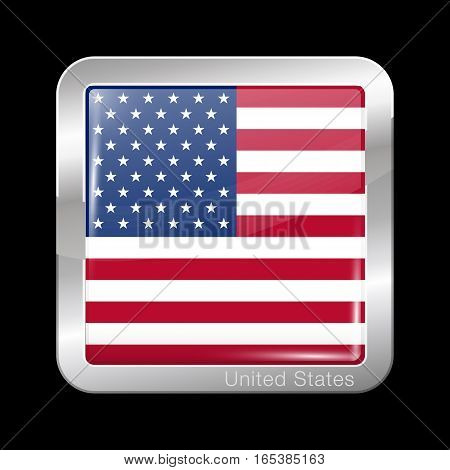 Flag Of United States Of America. American Flag. Metal Icon Square Shape