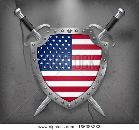 Flag Of United States Of America. American Flag. Vector Medieval Background