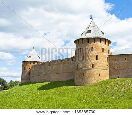 Fortress Novgorod Kremlin in town Great Novgorod Russia.