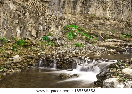 river, waterfall. little river, beauty nature and landscape