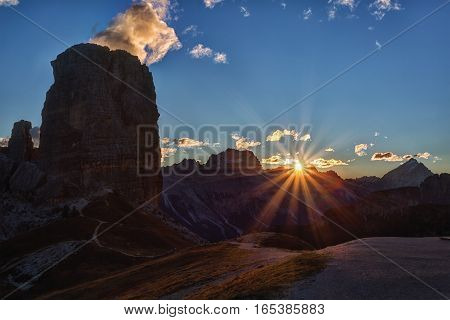 A beautiful sunrise in the Dolomites Italy