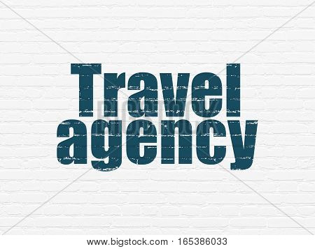 Vacation concept: Painted blue text Travel Agency on White Brick wall background