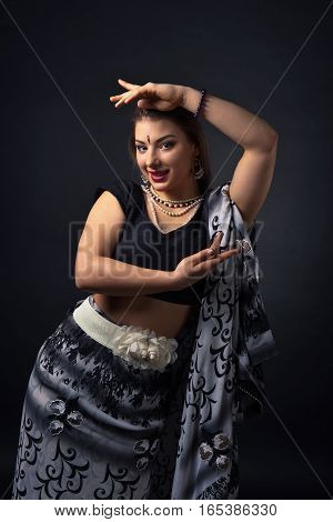 Dancing  Woman In The National Indian Costume