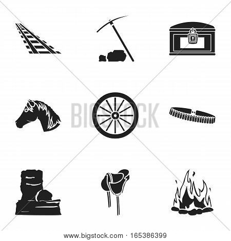 Wild west set icons in black style. Big collection of wild west vector symbol stock