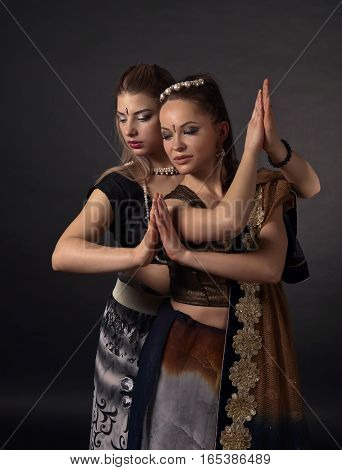 Two Dancing Young Women In The National Indian Costume