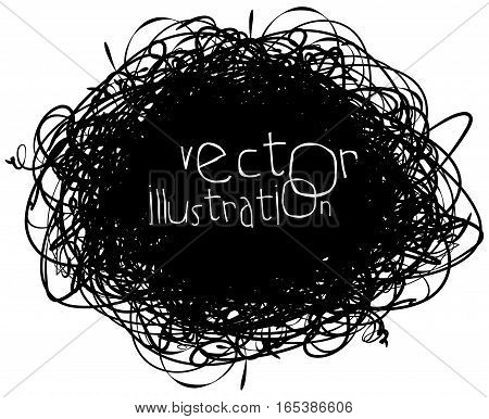 Scribble isolated on white background, vector illustration, black and white, hand-drawn