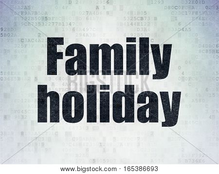 Travel concept: Painted black word Family Holiday on Digital Data Paper background