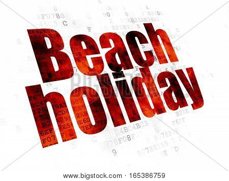 Travel concept: Pixelated red text Beach Holiday on Digital background