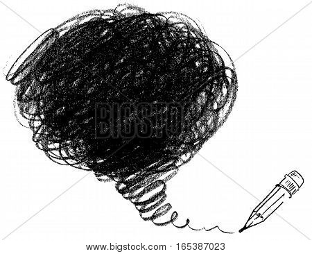 Pencil drawing. Vector illustration. Isolated on white background