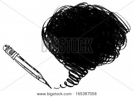 Pencil shading. Hand-drawn. Doodle. Vector illustration. Isolated on white background