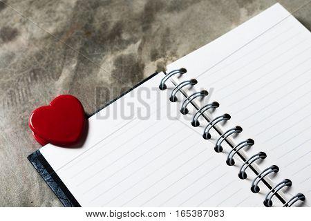 Valentines Day Background. Valentine Hearts With Open Blank Notebook On Dark Wooden Background. Writ