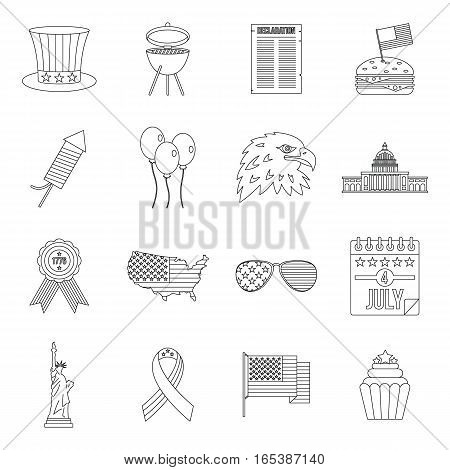 Independence day flag icons set. Outline illustration of 16 independence day flag vector icons for web