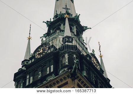 Closeup on belfry of German Church or Tyska kyrkan Stockholm Sweden