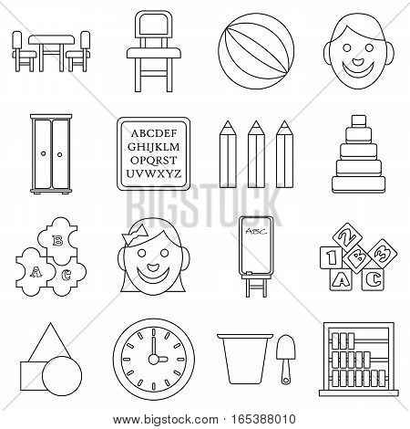 Kindergarten icons set. Outline illustration of 16 kindergarten vector icons for web