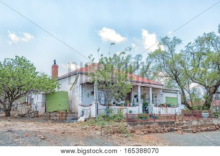 JAGERSFONTEIN SOUTH AFRICA - DECEMBER 31 2016: An historic old house in Jagersfontein a diamond mining town in the Free State Province of South Africa