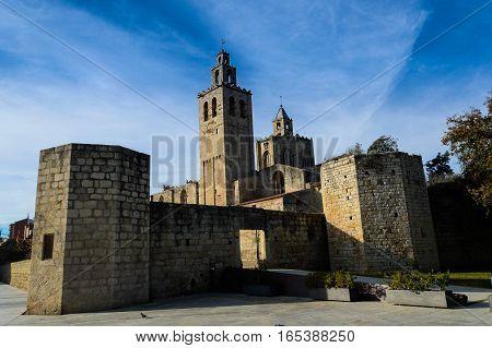 The romanic monastir of sant Cugat del Valles, catalunya