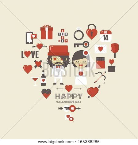 sign of valentine icon with couple, vintage style
