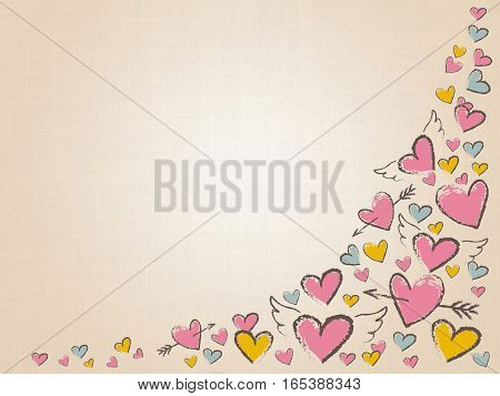 Beautiful love hearts on vintage background. Valentine Day background with pink hand drawn hearts. Happy Valentine day, wedding elements. Doodle hearts, angel wings and arrows. Raster illustration.