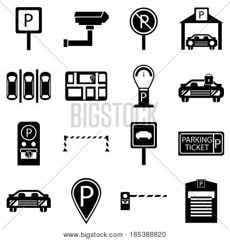 Car parking icons set. Simple illustration of 16 car parking vector icons for web