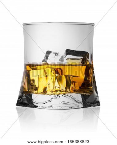 Glass of the whiskey with ice isolated on white background