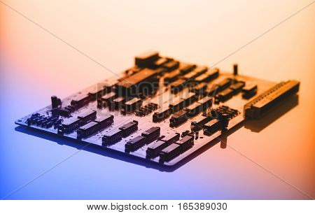 Printed circuit board with processor toned in blue