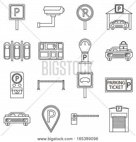 Car parking icons set. Outline illustration of 16 car parking vector icons for web