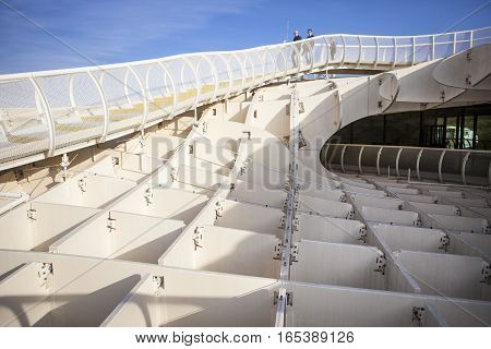 Seville Spain - January 2 2017: Roof footbridge for pedestrians at Metropol Parasol. It provides a unique view of the old city center and the cathedral