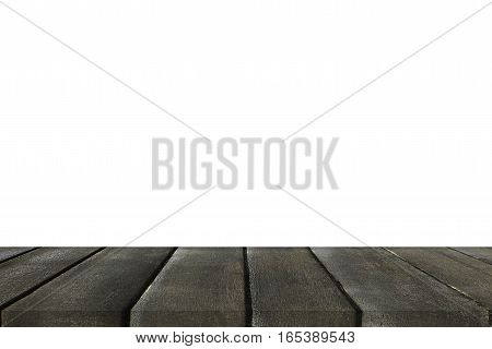 Empty light black wood table top isolate on white background. Leave space for placement you background for display or montage or mock up your products.