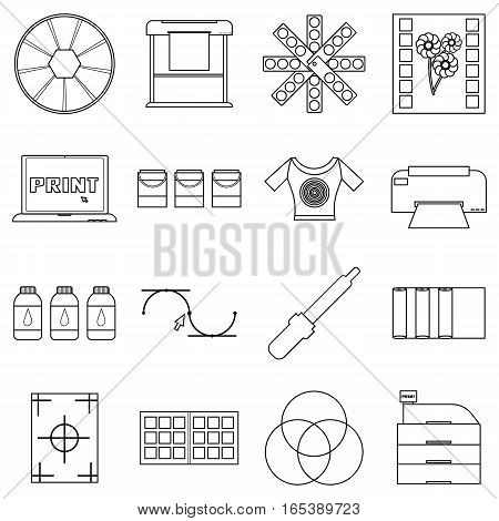 Print items icons set. Outline illustration of 16 print items vector icons for web
