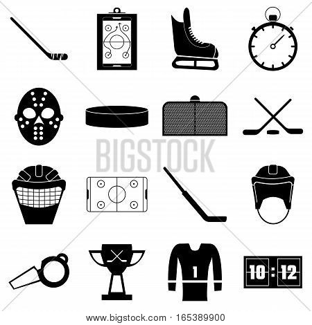 Hockey items icons set. Simple illustration of 16 hockey items vector icons for web