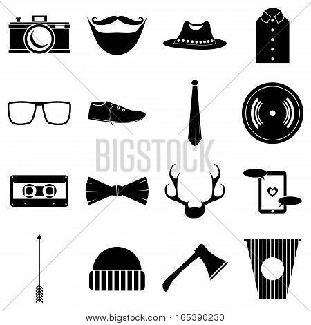 Hipster items icons set. Simple illustration of 16 hipster items vector icons for web