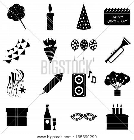 Happy birthday icons set. Simple illustration of 16 happy birthday vector icons for web