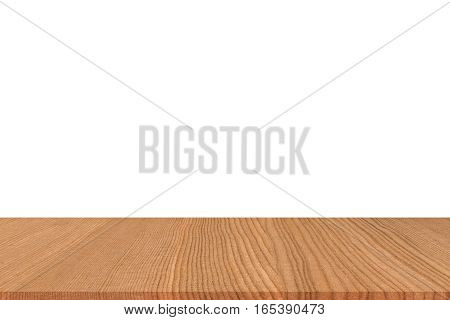 Empty light wood table top isolate on white background. Leave space for placement you background for display or montage or mock up your products.